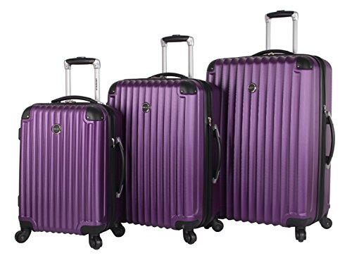 Lucas Outlander 3 Piece Luggage - Lightweight Expandable Scratch Resistant (ABS+PC) Hardside Suitcase- Set Includes 20 Inch Carry on, 24 and 28 Inch Bags With 4-Rolling Spinner Wheels (Purple)