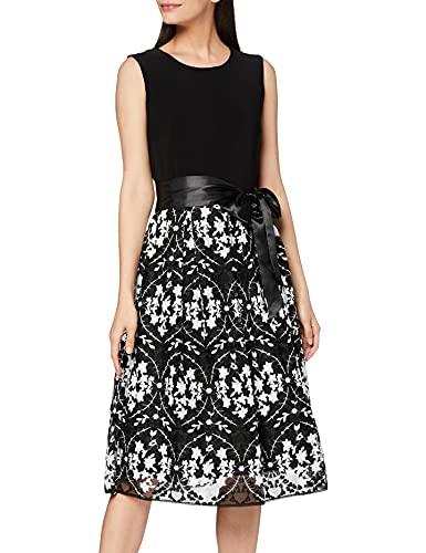 Gina Bacconi Damska sukienka koktajlowa, z haftem, Czarny/biały, 42 PL