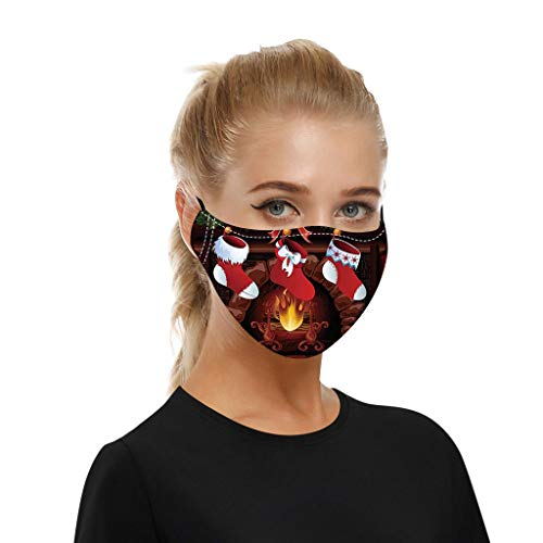 beautyfine Christmas Adult Cotton Protective Mouth Shield, Adjustable Soft Elastic Earloop,Breathable and Comfortable, Dust and Haze, Washable and Reusable