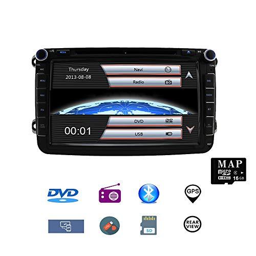 Stereo Home 8 Zoll 2 Din Autoradio Naviceiver für VW Jetta Golf Passat mit DVD CD Player GPS Navigation USB SD CANBUS FM AM RDS Bluetooth Lenkrad Bedienung 720P Video Wince 6.0 SWC 8GB Kartenmaterial