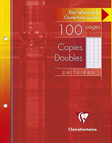 Clairefontaine 4421C - Un étui carton 100 pages Copie double perforées 17x22 cm 90g grands carreaux