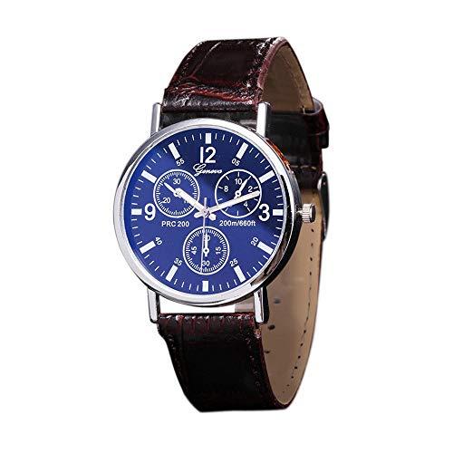 Männer Uhr Fghyh Glass Watch Neutral Quarz simuliert die Armbanduhr(C)