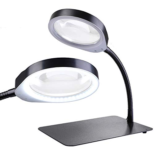 HOLULO Lupenleuchte, 10X Tisch Lupenlampe mit LED-Tageslicht, Lupe Lampe Tischlupe für Löten,Nähen,Lesen,Hobbys,Sehschwäche (Schwarz, 10X)