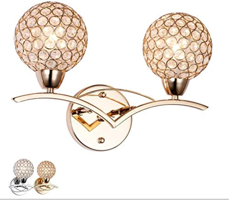 BAIJJ Moderne Kristalllampe Nachttischlampe Wandlampe Wandlampe Lichttechnik Einzelkopf Schlafzimmer mit Doppelbett Wohnzimmer Küche Flur Wandlampe Glas Kristall Blütenbltter, 2 Kopf, Chrom Farbe