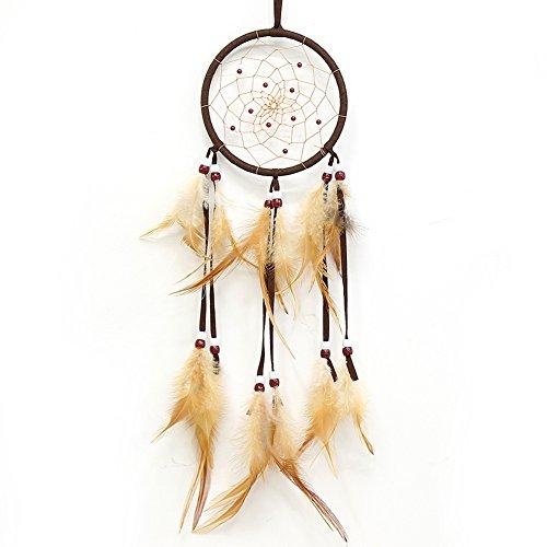 Traumfänger braun handgemachte Perlen Feder indianischen Dreamcatcher kreisförmigen Netz für Auto Kinderzimmer Wand hängen Dekoration Dekor Ornament Handwerk 2Pcs