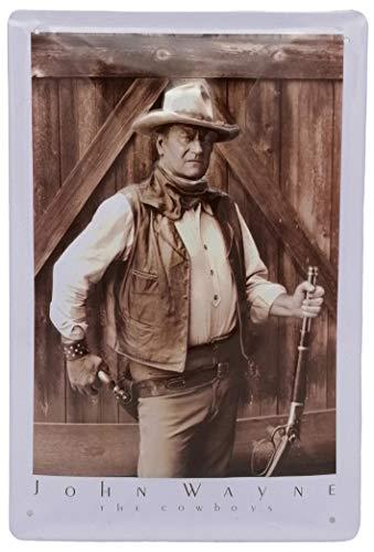 John Wayne Cowboy, geprägtes Hollywood Kult Film Blechschild 20 x 30 cm, US Vintage Diner Style Retro Metall-Schild Magnet