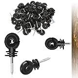 Zaun-Isolierung, elektrisch, 50 Stück, Zaunring zum Anschrauben für Holzpfosten, Schwarz