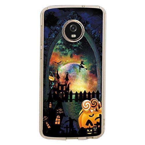 Bellan Hülle Kompatibel mit Motorola G6 Hülle Halloween Schutzhülle Hexe Sternenklare Nacht Design Schutzschale Weiche Silikon Transparent Handytasche Kratzfeste aus Stoßfest HandyHülle (4)