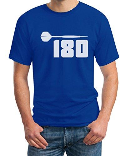 Dart 180 - Herren Shirt für Darts Spieler und Fans T-Shirt XXXX-Large Blau