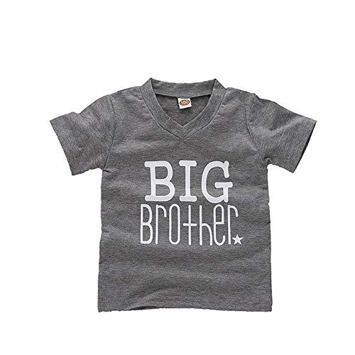 Geschwisterhemden Bodys Einteiler Set für Große Brüder Siter und Kleine Brüder Junge Geschenkset, Big Brother Grey, 3-4J (Größe 120)