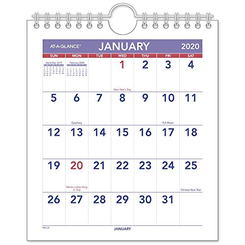 AT-A-GLANCE 2020 Monthly Wall Calendar, 6-1/2 x 7-1/2, Mini (PM528)