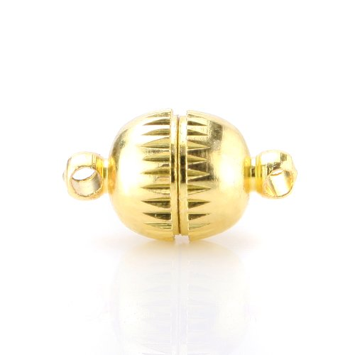BEADNOVA 20pcs 8mm Gold Plated Jewelry Magnetic Clasps for Jewelry Necklace Making Findings