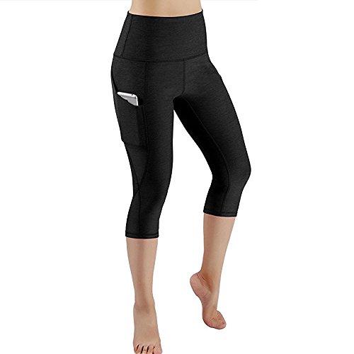 YEBIRAL Damen Leggings, Sporthose Lang Sportleggins, Blickdicht Yoga Hose, High Waist Sport Leggins Fitnesshose mit Taschen (Y-3/4 Schwarz, XL)