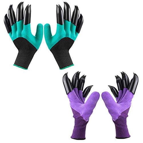 Gardening Gloves Claws, Waterproof and Breathable Garden Gloves for Digging Planting, Best Gardening Gifts for Women and Men (Purple 1 Pairs and Green 1 Pairs)