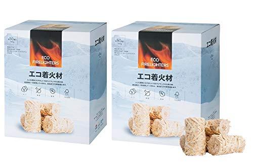 エコ着火剤 お得な2箱セット 100%ナチュラルな着火材 バーベキュー 薪ストーブ 暖炉 焚き火 FSC認証 ヨツール 1箱約50個入x2 WB050_2