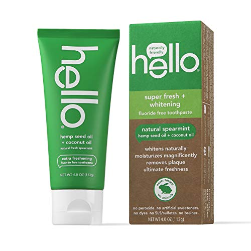 Hello Vegan Fluoride Free Toothpaste, Super Fresh Spearmint, Naturally Whitening Toothpaste, Hemp Seed Oil + Coconut Oil, Helps Remove Plaque, No SLS/Sulfates, 4 Ounce