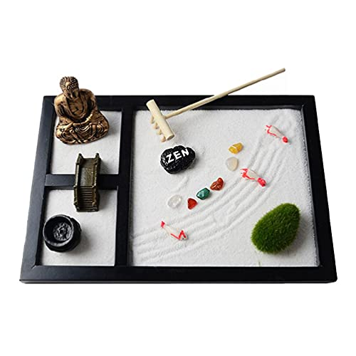 SHAOKAO Mini Zen Garden Sand Tablett Set 3 Gitter Buddha Statuen Zen Garden Set Sandbrücke Baum Sandstrand Micro Landscape Crafts Zen Garden Sand Tablett