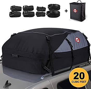 Adakiit Car Roof Bag Cargo Carrier 20 Cubic Feet Waterproof Heavy Duty Car Roof Top Carrier with/Without Rack Suitable for All Vehicles Cargo Bag Storage Luggage + 8 Reinforced Straps + Packing Bag