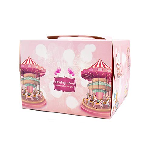 Wukong Direct 10pcs Cajas de panadería de cartón de carrusel Lindo Cajas de protección de pastelería para Fiestas 6 Pulgadas