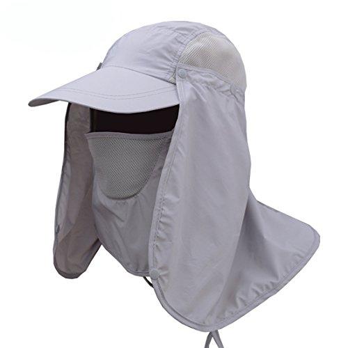 PAADIYA Hombres Mujer Sombrero para el Sol Anti-Ultravioleta Sombrero de Pesca con Proteccion de Cuello Sombrero de ala Ancha Secado rápido Respirable para Equitación, Camping, Senderismo