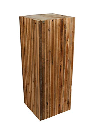 Spetebo Design Holz Hocker eckig - 60 x 23 cm - Blumenhocker Beistelltisch Holzklotz Hocker Blumenständer