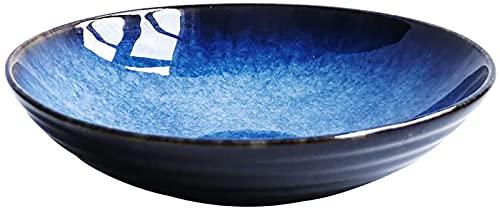 NBXLHAO Tazón Gweat Estilo japonés Azul Retro Vajilla de cerámica Tazón de Ramen Creativo Tazón de Sopa Grande Tazón de Ensalada de Frutas Adecuado para Muchos Platos Tazones de Sopa de Regalo
