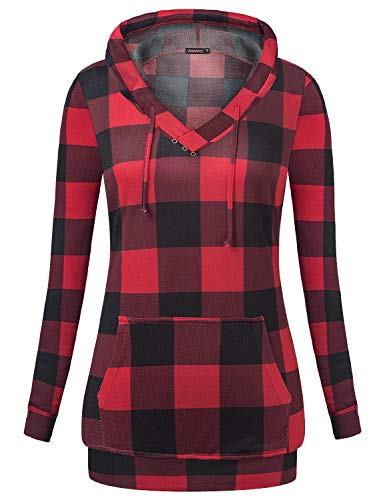 Anmery Plus Size Hoodies for Women Sweater Tunics for Women Plaid-Red XL