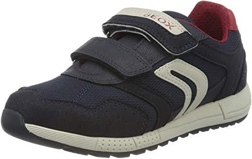 Geox J ALBEN Boy C, Sneakers Basses Homme, Bleu (Navy/Red C0735), 36 EU