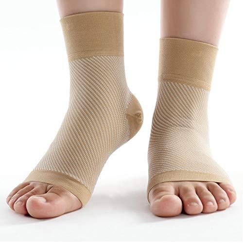 Soporte de Tobillo Ajustable Protector de Soporte de Tobillo Deportivo Manga de Soporte de compresión Calcetines Cortos para recuperación de Lesiones Dolor en Las articulaciones(L-Color de Piel)