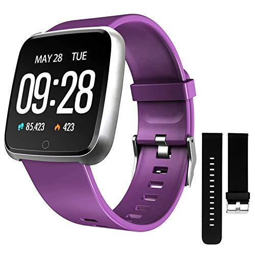 DOOK Relojes Inteligente Hombre y Mujer,Smartwatch con Pulsómetro,Presión Arterial, Monito de Sueño,Podómetro Pulsera Reloj Impermeable IP67 para Android iOS y Xiaomi Huawei iPhone Teléfono,Púrpura