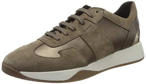Geox Womens D SUZZIE B Sneaker, Lead/DK BEIGE,42 EU