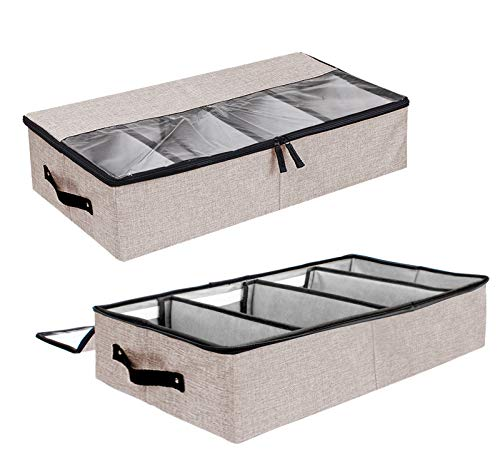 Colleer Reinforce Under bed Storage Bag Organizer Washable, Adjustable Underbed Storage Container for Closet Under bed Storage Bins with Clear Cover, Storage Box for Blankets, Shoes, Bedding, Clothing, 2 Pack (Flax Grey)
