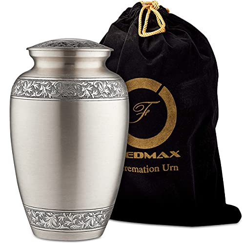 Fedmax Urns for Human Ashes - Brass Decorative Cremation Urn for Funeral w/Satin Bag for Storage - Burial or Memorial Keepsake for Adults