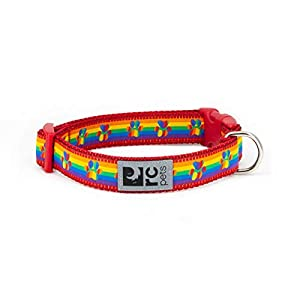 RC Pets 3/4 Inch Adjustable Dog Clip Collar, Small, Rainbow Paws