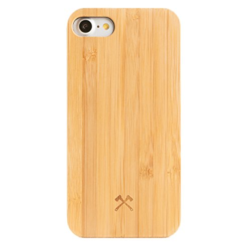 Woodcessories – Carcasa, Funda Compatible con iPhone SE (2020) / 8/7, de Madera Real, EcoCase Classic (Bambú/Negro)