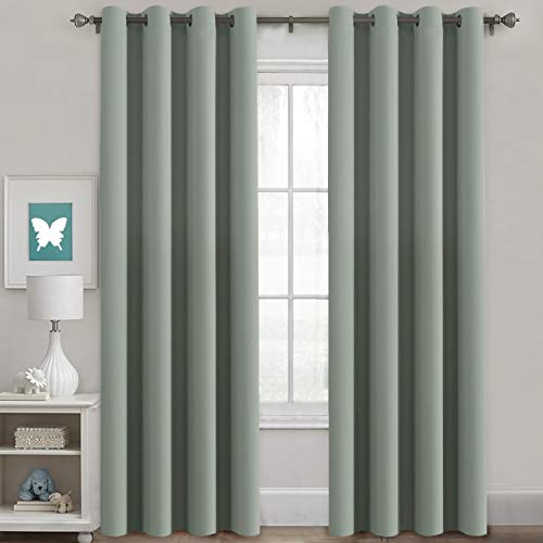 H.Versailtex Window Treatment Blackout Thermal Insulated Room Darkening Solid Grommet Curtains / Drapes for Bedroom (Set of 2 Panels,52 by 84 Inch Long ,Sage)