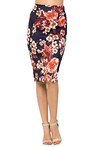 Junky Closet Women's Scallops Knee Length High Waisted Pencil Skirt (Made in USA) (2X, 3635GRAK Navy)