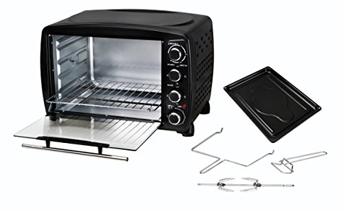 Team Kalorik Mini Oven with Baking Tray, Wire Rack and Rotating Skewer (100-250°C), 40 L Interior Capacity, 1500 W, Metal/Glass, Black, TKG OT 1013 BCRL
