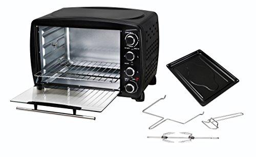 Team Kalorik Mini Oven with Baking Tray, Wire Rack and Rotating Skewer (100-250°C), 40 L Interior Capacity, 1500 W, Metal/Glass, Black, TKG OT 1013 BCRL