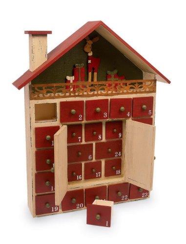 """Adventskalender """"Winterhütte"""" aus lackiertem Holz, ideale Dekoration für die Weihnachtszeit, einfach und nachhaltig jedes Jahr wiederverwendbar"""