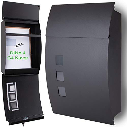 WONEA - Briefkasten groß DINA 4 C4 geeignet, Postkasten mit Sichtfenster, XXL Wandbriefkasten Briefkasten Anthrazit für Wandmontage mit Schloss und 2 Schlüsseln modern (Anthrazit)