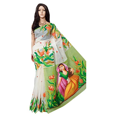 Witte Kerala Tussor Zijde Hand Geschilderde Saree Indian Mooie Motief Pallu Traditionele Sari Met Blouse Stuk Handgemaakte Bengaalse Wevers 143