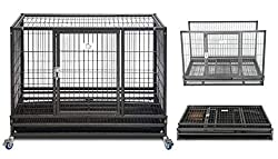 "Homey Pet 37"" Open Top Heavy Duty Dog Pet Cage Kennel w/Tray, Floor Grid, and Casters"