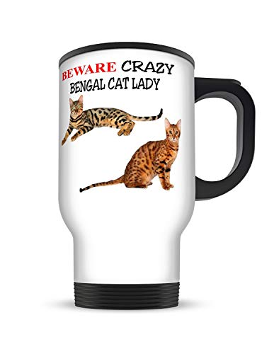 Funny Gift Mug 14oz Beware Crazy Bengal CAT Lady White Aluminium Travel Mug
