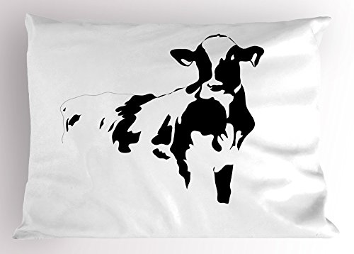 Lunarable Rustic Pillow Sham, Silhouette Portrait of a Cow Meat Milk Farm Animals Agriculture Themed Illustration, Decorative Standard Queen Size Printed Pillowcase, 30' X 20', White Black