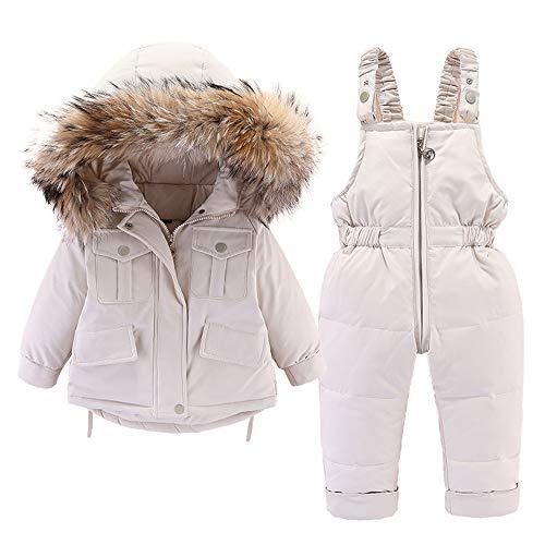 Baby Daunenjacke und Daunenhose 2PCS, Mädchen Jungen Winter Mantel mit Kapuze Kinder Skianzüge 24-36 Monate