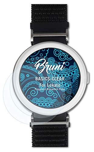 Bruni Schutzfolie kompatibel mit Lokato Pingonaut Kidswatch Puma Folie, glasklare Bildschirmschutzfolie (2X)