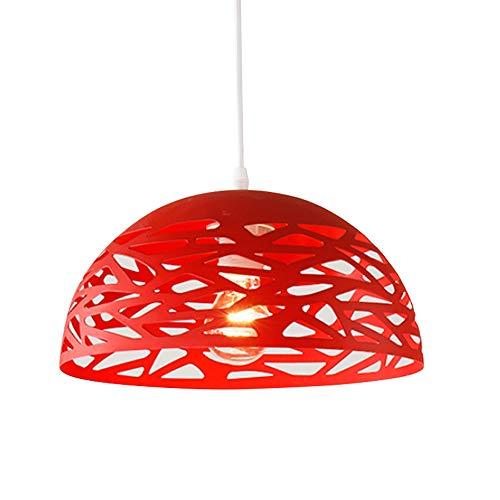 Retro Hängelampe Vintage E27 Hängeleuchte Esszimmer Esstisch Küchen Pendelleuchten Deckenleuchte Rot Metall Schatten Rund Openwork Design Decken Lampe,φ30CM