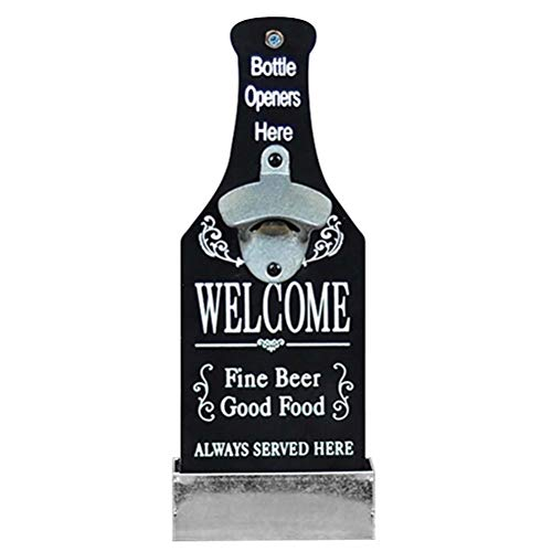Macabolo Wall Mounted Bottle Opener, Vintage Style Beer Shaped Bottle Opener with Cap Catcher for Wedding KTV Birthday Party Drinking
