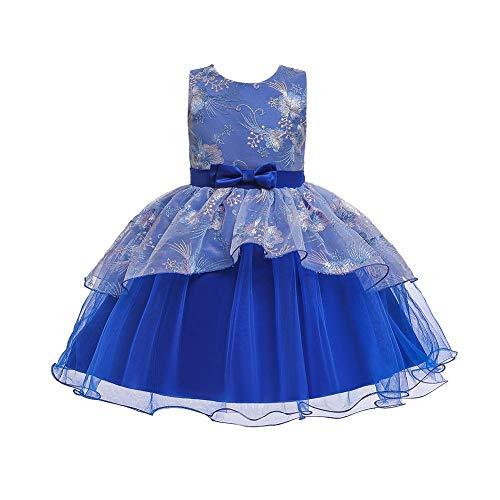 Vestido de niña con volantes, tutú, falda de princesa, vestido de fiesta, boda, cumpleaños, bautizo, desfile, vestido de noche, sin mangas, con lazo bordado, vestido de baile azul 5-6 Años